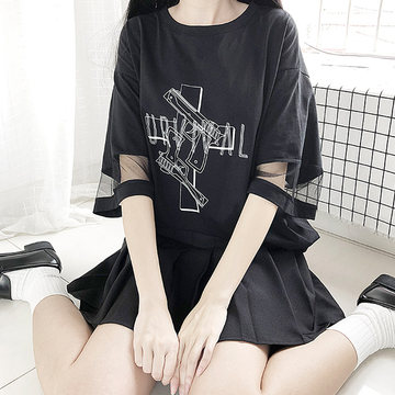 Modakawa Dress Black / One Size SURVIVAL Letter Gun Cross Mesh Oversize T-Shirt Dress