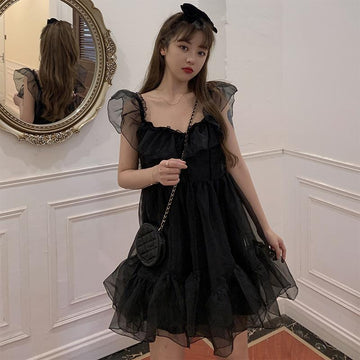 Modakawa Dress Black Ruffle Mesh Dress Sweet Girl