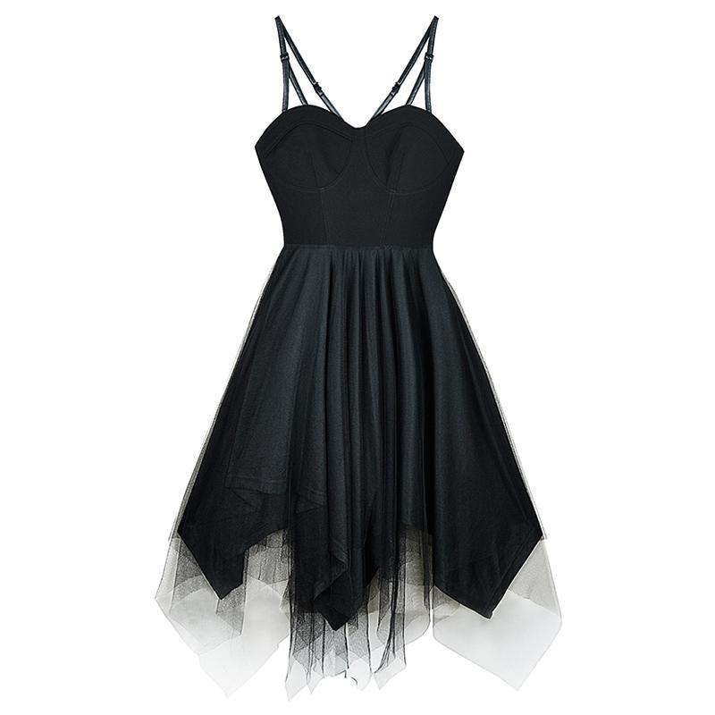 Modakawa Dress Black / S Black Tulle High Waist Sleeveless Slip Dress
