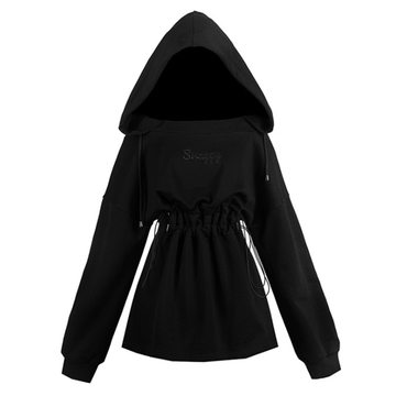 Modakawa Dress Black / S Cool Black High Waist Hooded Dress