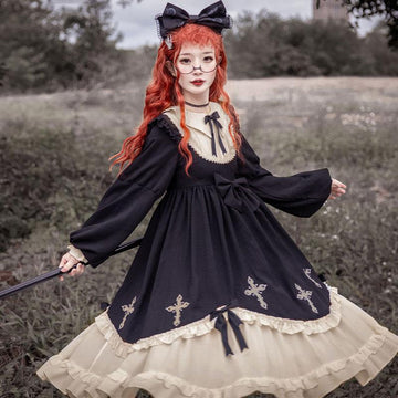Modakawa Dress Black / S Cross Bow Ruffle Sweet Lolita Dress
