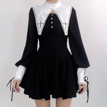 Modakawa Dress Black / S Cross Embroidery Collar Lace Up Button Dress