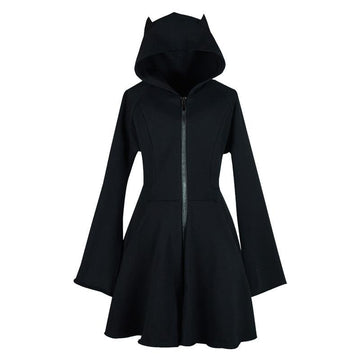 Modakawa Dress Black / S Devil Ears A-Line Zipper Hooded Black Dress