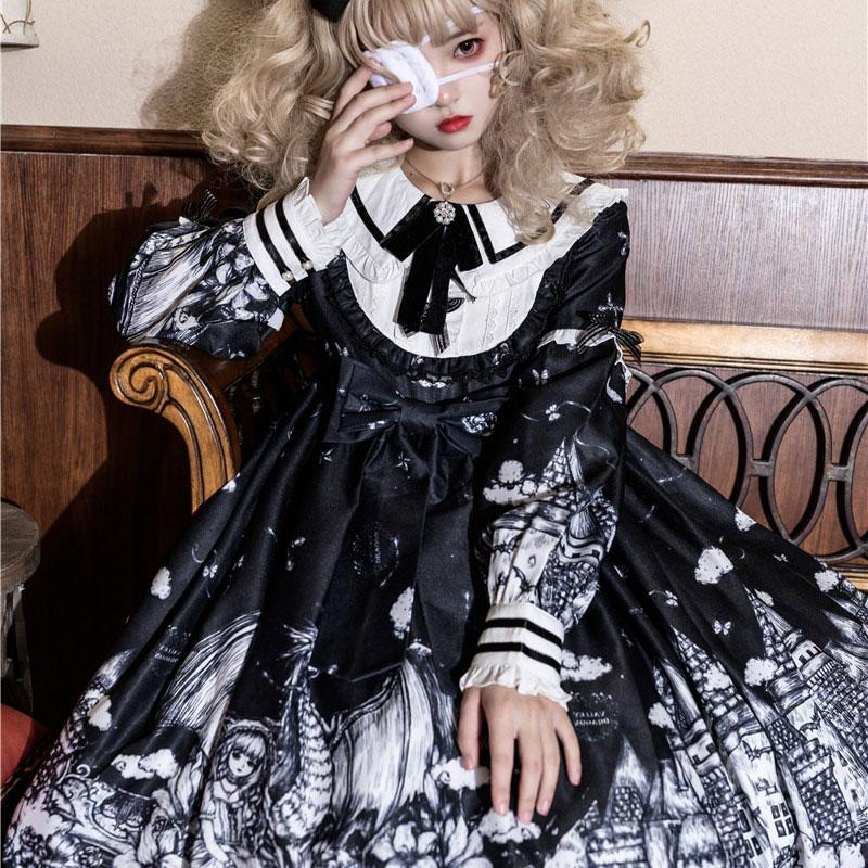 Modakawa Dress Black / S Gothic Print Bow Ruffle Doll Collar Lolita Dress