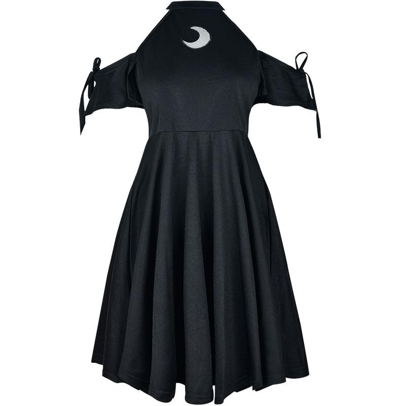 Modakawa Dress Black / S Moon Hollow Out Gothic Black Dress High Waist