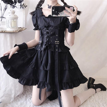 Modakawa Dress Black / S Ruffle Lace Up Buckle Gothic Sweet Dress