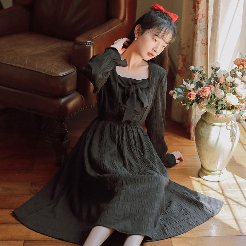 Modakawa Dress Black / S Sweet Bow Square Neck Pleated Long Dress