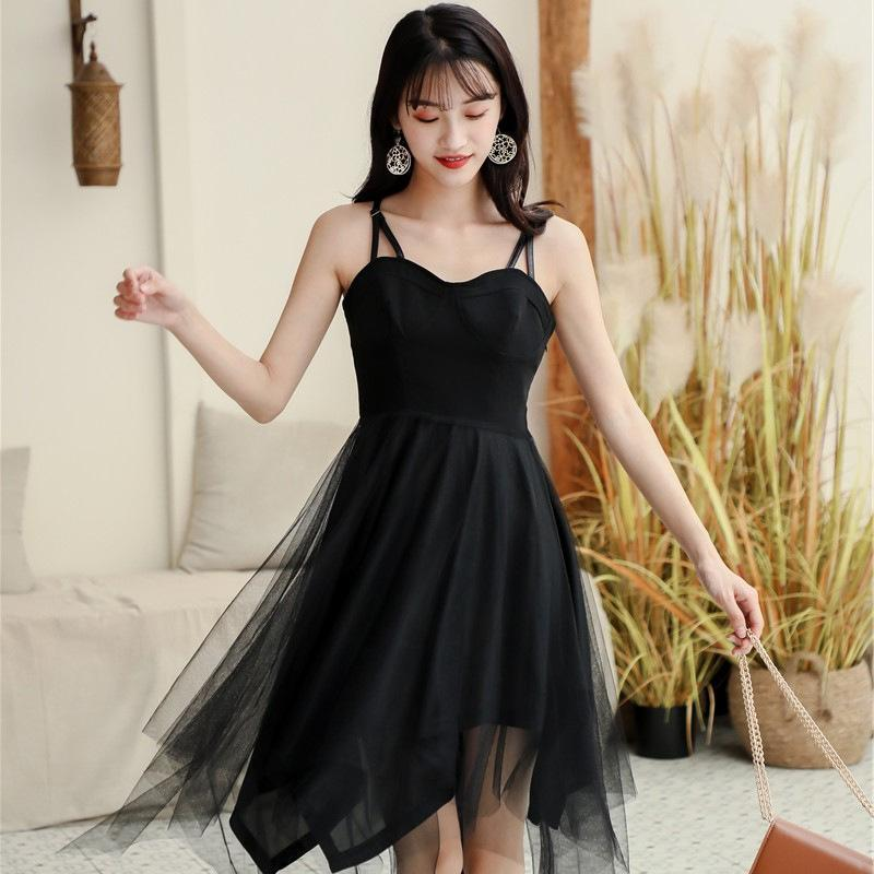 Modakawa Dress Black Tulle High Waist Sleeveless Slip Dress