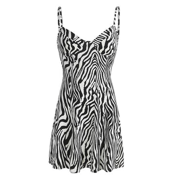 Modakawa Dress Black & White / S Zebra Stripe High Waist Slip Dress