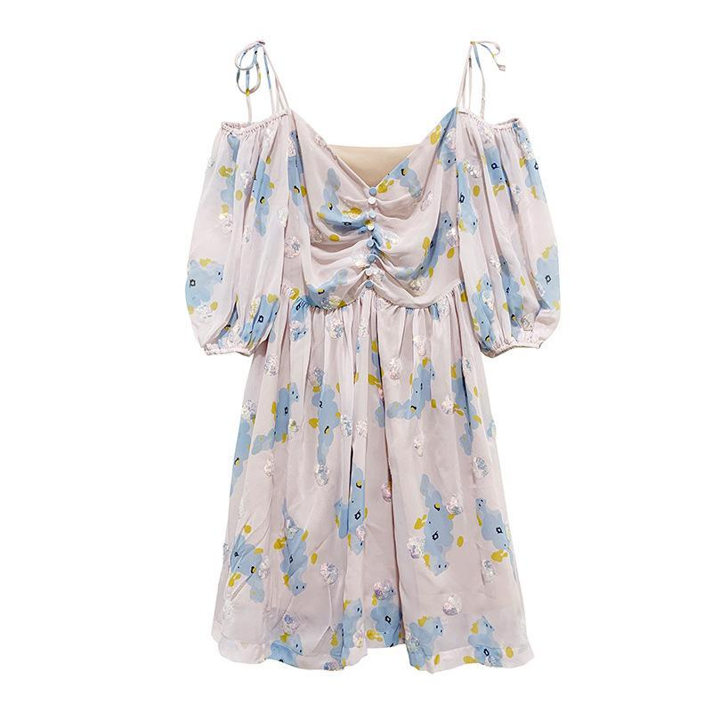 Modakawa Dress Blue Flower / XS Sweet Floral Print Chiffon Paillette Off The Shoulder Dress