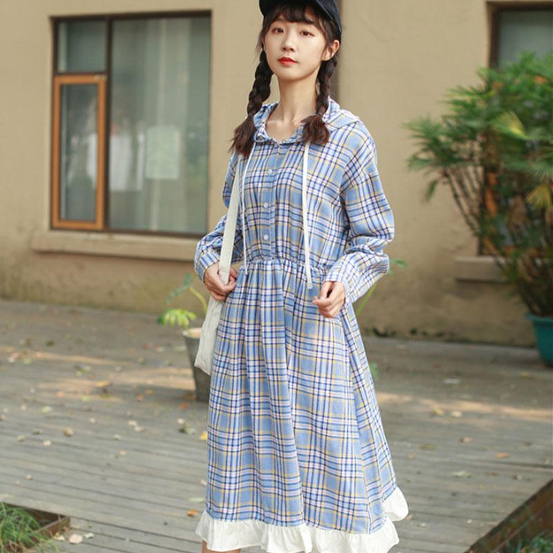 Modakawa Dress Blue / M Plaid Button Ruffle Drawstring Hooded Dress