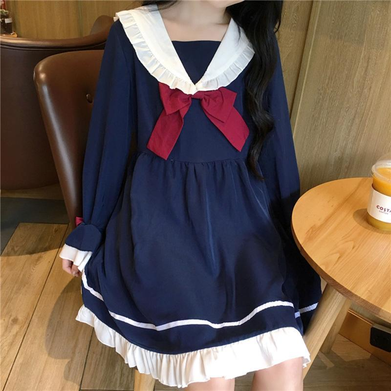 Modakawa Dress Blue / One Size Japanese Ruffle Sailor Collar Bowknot Dress