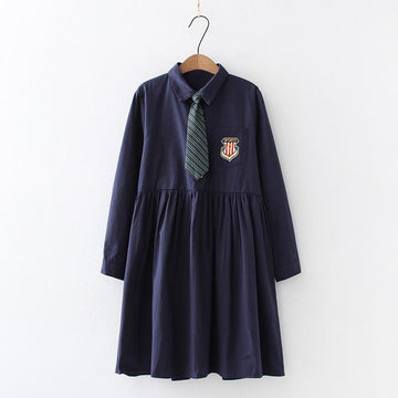 Modakawa Dress Blue / One Size School Tie Badge Embroidery Pocket Polo Collar Dress
