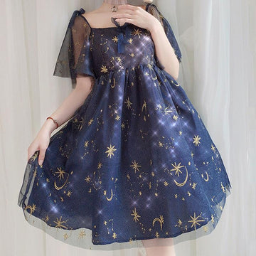 Modakawa Dress Blue / One Size Starry Sky Moon Sweet Tulle Dress