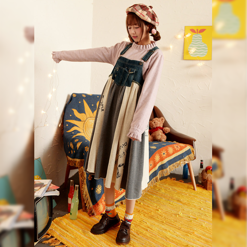 Modakawa Dress Blue / One Size Sweet Loose Denim Overalls Dress