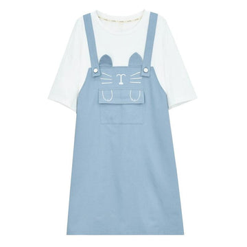 Modakawa Dress Blue / S Cat Embroidery Pocket Fake Two-Piece Overalls Dress