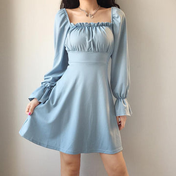 Modakawa Dress Blue / S French Style Square Collar Lace UP Dress