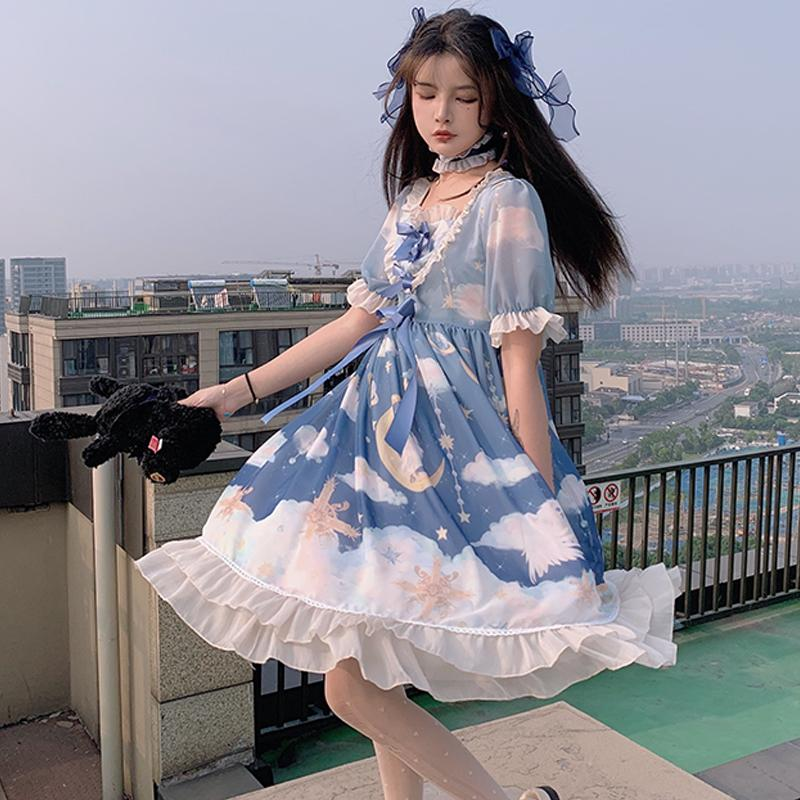 Modakawa Dress Blue / S Moon Star Cloud Lace Ruffle Bow Lolita Dress