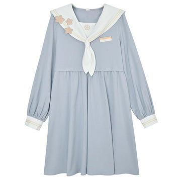 Modakawa Dress Blue / S Sweet School Embroidery Navy Collar Bowknot Dress