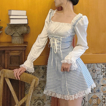 Modakawa Dress Blue & White / S Lace Up Plaid Ruffle Square Neck Dress