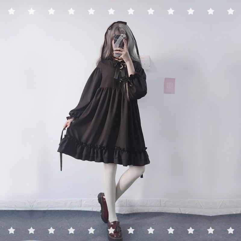 Modakawa Dress Bow-Knot Black Flounced Dress