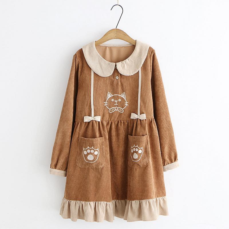 Modakawa Dress Brown / One Size Kitty Embroidery Doll Collar Pocket Corduroy Dress