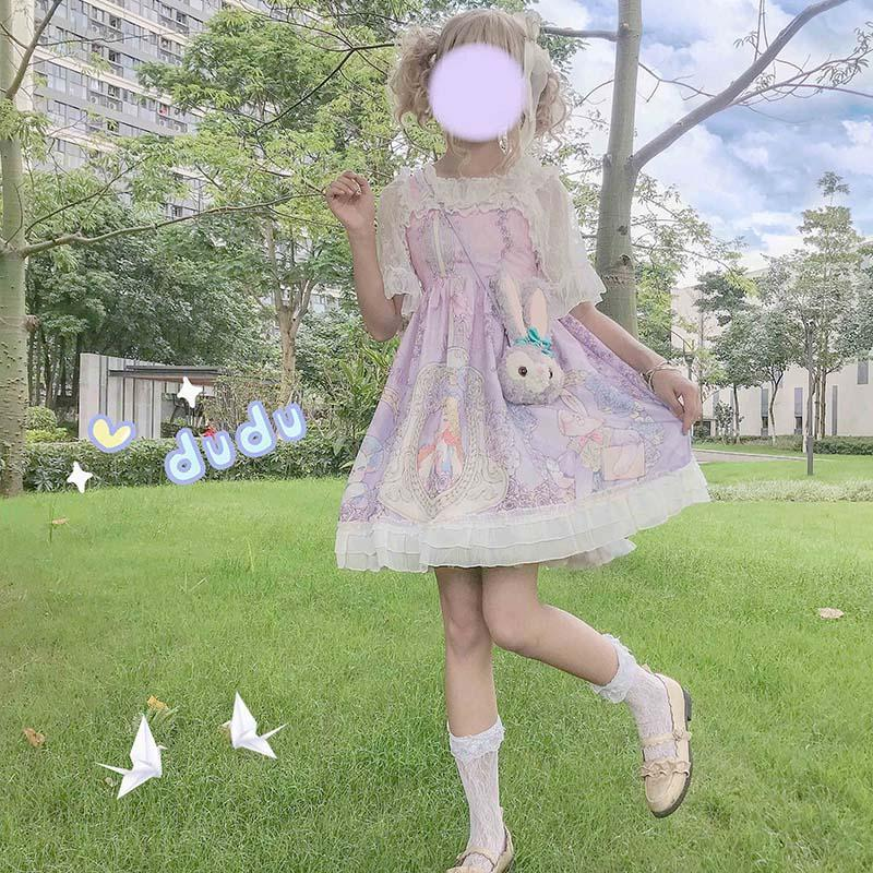 Modakawa Dress Cartoon Girl Print Lace Lolita Strap Dress