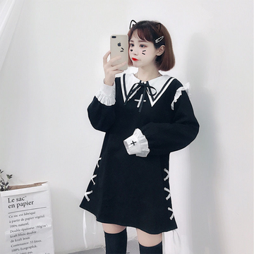 Modakawa Dress Cute Japanese Ruffle Bowknot Dress