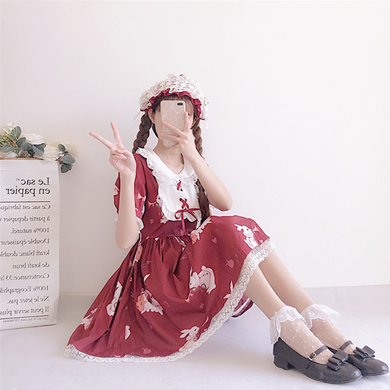 Modakawa Dress Cute Rabbit Print Lace Dress