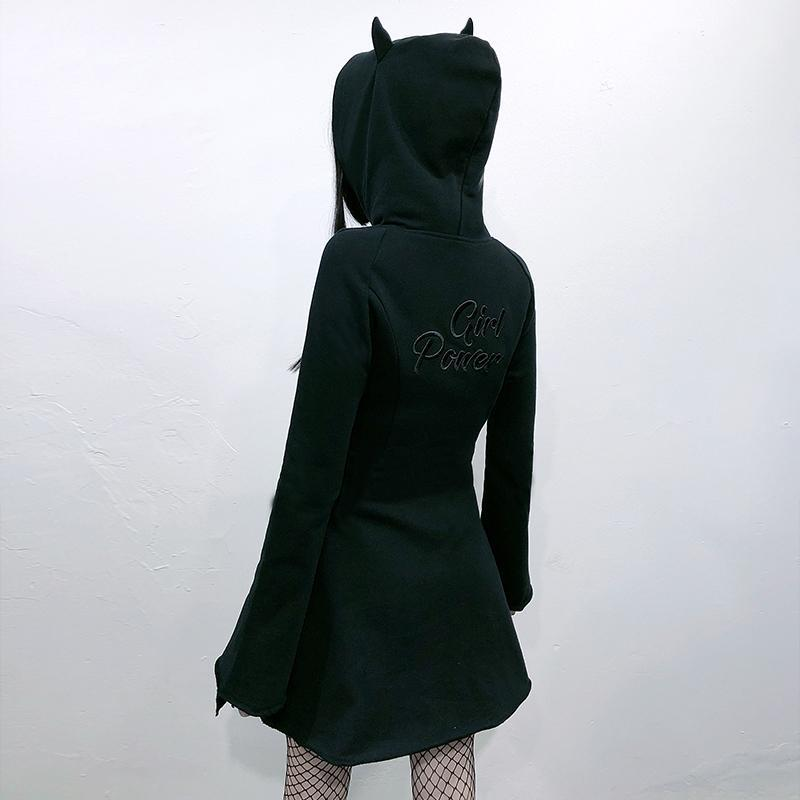 Modakawa Dress Devil Ears A-Line Zipper Hooded Black Dress