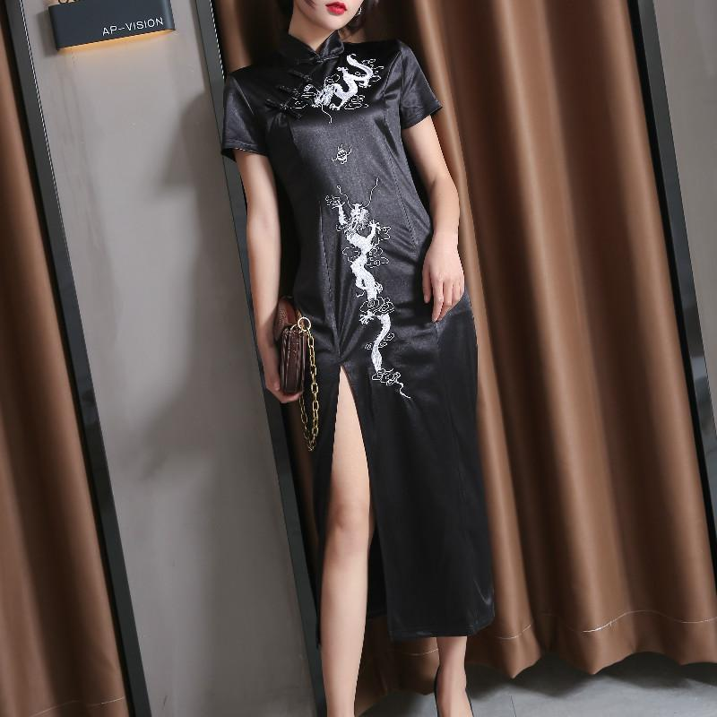 Modakawa Dress Dragon Embroidery Vintage Cheongsam Split Slim Dress