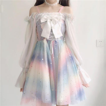 Modakawa Dress Dress + Bow + Outerwear / XS-S Rainbow Star Bow Lace Up Sweet Tulle Slip Dress