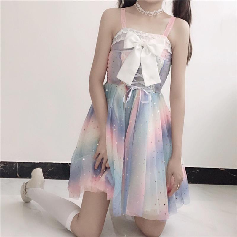 Modakawa Dress Dress + Bow / XS-S Rainbow Star Bow Lace Up Sweet Tulle Slip Dress