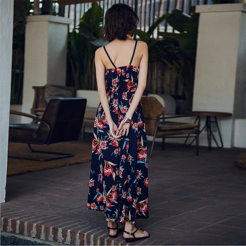 Modakawa Dress Floral Print Suspender Long Dress