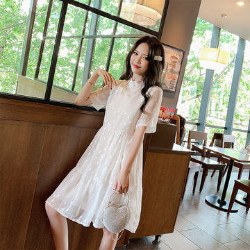 Modakawa Dress Flower Embroidery Cheongsam Button Mesh Dress