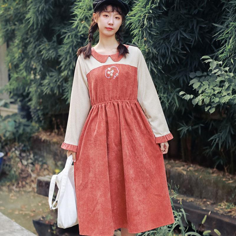 Modakawa Dress Flower Embroidery Doll Collar Ruffle Color Block Dress