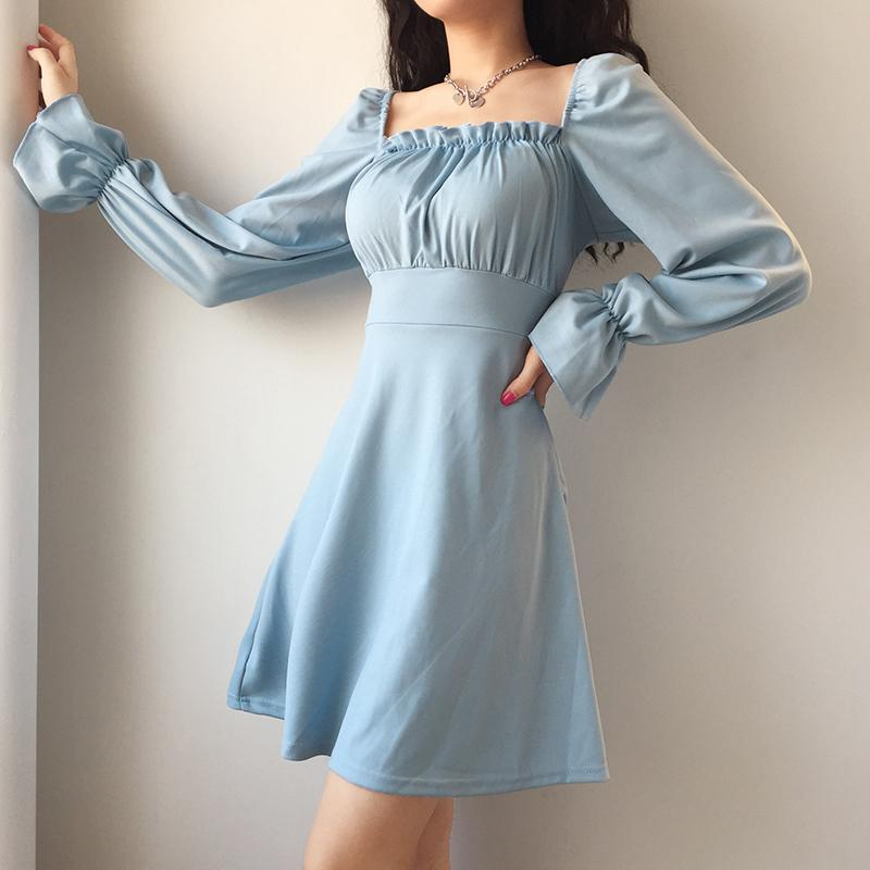 Modakawa Dress French Style Square Collar Lace UP Dress
