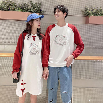 Modakawa Dress Girlfriend Boyfriend Bunny Knot Sweatshirt Dress