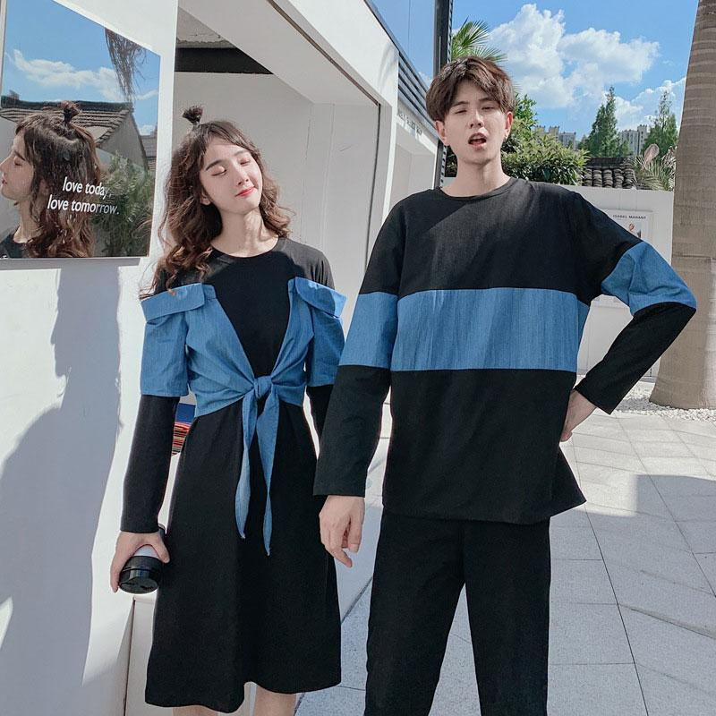 Modakawa Dress Girlfriend Boyfriend Color Block T-shirt One-Piece Dress