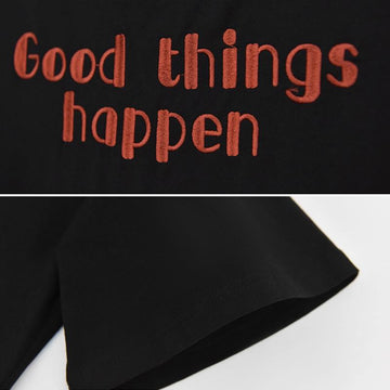 Modakawa Dress GOOD THINGS HAPPEN Letter Paw Ears Eyes Embroidery Zipper Hooded Dress