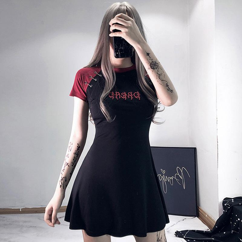 Modakawa Dress Gothic Letter Embroidery Color Block A-Line T-Shirt Dress