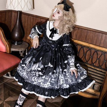 Modakawa Dress Gothic Print Bow Ruffle Doll Collar Lolita Dress