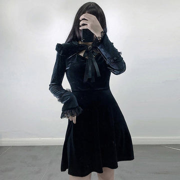 Modakawa Dress Gothic Vintage Velvet Lace Hollow Pleated Dress