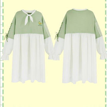 Modakawa Dress Green A / One Size BFF Matching Best Friends Avocado Embroidery Japanese Ruffle Lace Up Sweatshirt Dress