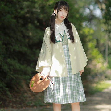 Modakawa Dress Green / S Vintage Bamboo Embroidery Shirt Plaid Skirt Outerwear Three-piece Set