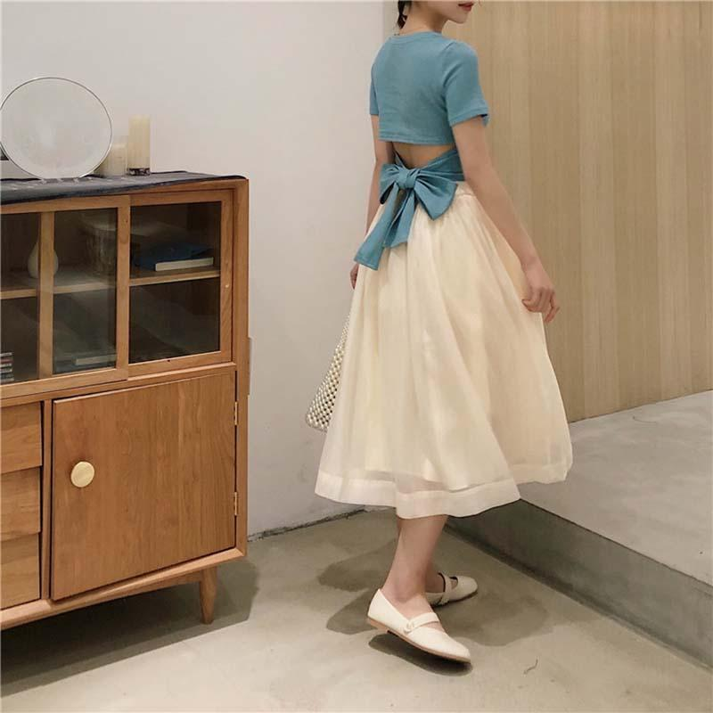 Modakawa Dress High Waist Elastic Skirt Pure Color Tulle Skirt