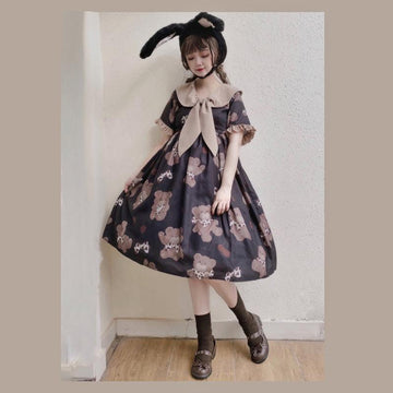 Modakawa Dress Hug Bear Ruffle Bow Doll Collar Dress