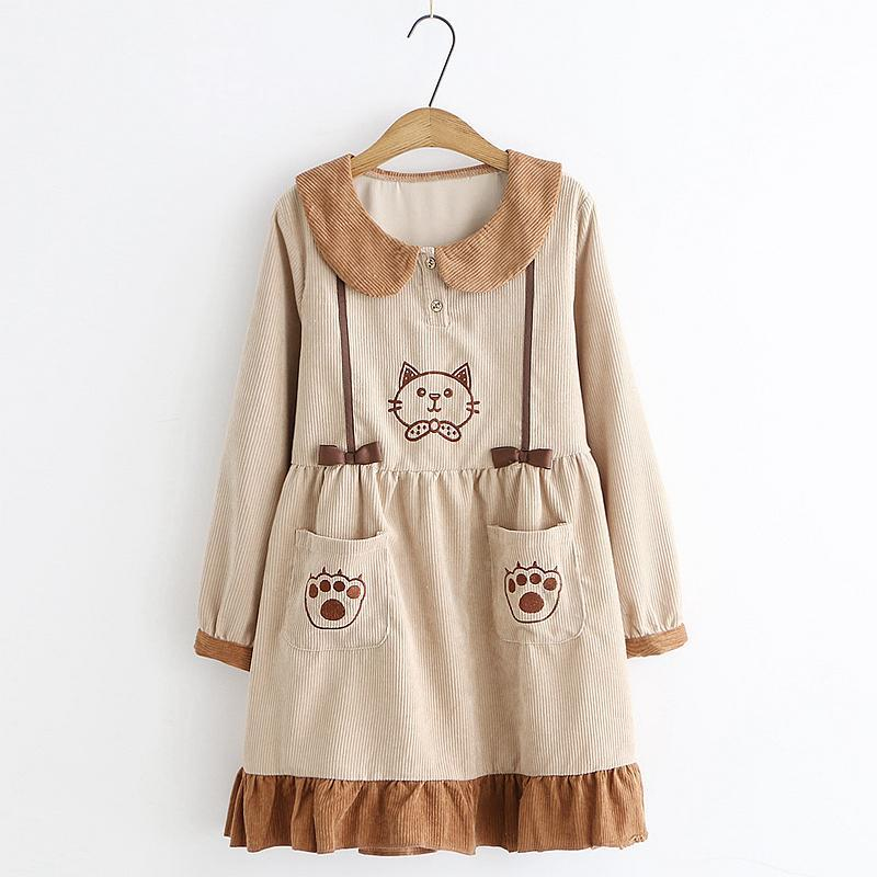 Modakawa Dress Khaki / One Size Kitty Embroidery Doll Collar Pocket Corduroy Dress