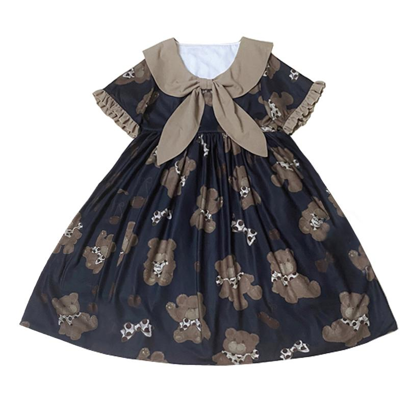 Modakawa Dress Khaki / S Hug Bear Ruffle Bow Doll Collar Dress