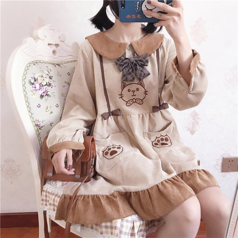 Modakawa Dress Kitty Embroidery Doll Collar Pocket Corduroy Dress